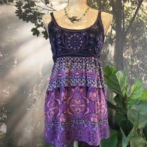 Angie Paisley Purple Hippie Studded Top Floral L